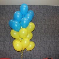 Гелиевые шарики желто - голубые 25шт