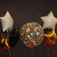 Гелиевый шар - гигант с конфетти и звездами